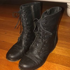 Madden Girl black combat boots